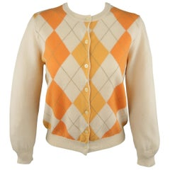 PIERRE BALMAIN Size L Orange Argyle Cashmere Crewneck Cardigan