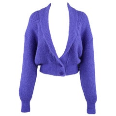 JAEGER Size M Purple Knit Shawl Collar Cropped Cardigan