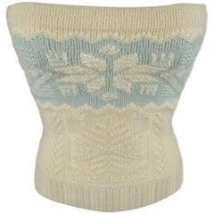 RALPH LAUREN Size M Cream & Blue Beaded Cashmere Knit Snowflake Tube Top