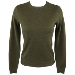 RALPH LAUREN Size S Olive Green Cashmere Crewneck Pullover Sweater