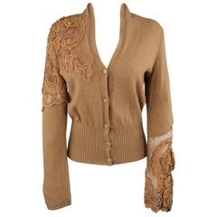 ROBERTO CAVALLI Size 6 Tan Wool Asymmetrical Lace Panel Cardigan