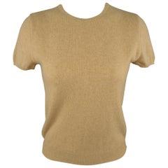 RALPH LAUREN Size M Camel Cashmere Short Sleeve Pullover