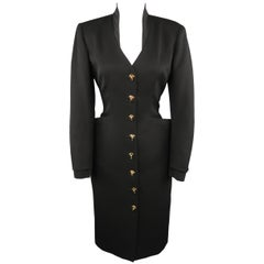 EMANUEL UNGARO Size L Black Twill Gold Beaded Button Up Long Sleeve Dress
