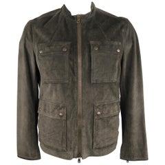 JOHN VARVATOS * U.S.A. L Charcoal Solid Suede Jacket