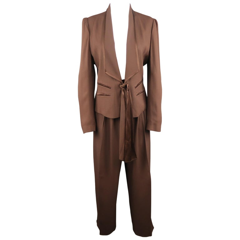 148546ca3c9 SONIA RYKIEL Size 8 Brown Crepe Satin Trim Tied Jacket Pants Suit For Sale