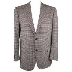 ERMENEGILDO ZEGNA 48 Regular Black & White Plaid Cashmere Sport Coat