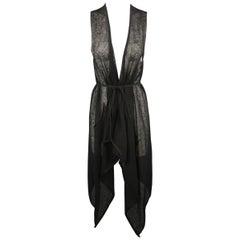 FORME 3'3204322896 Size S Black Linen / Cotton Draped Tie Vest