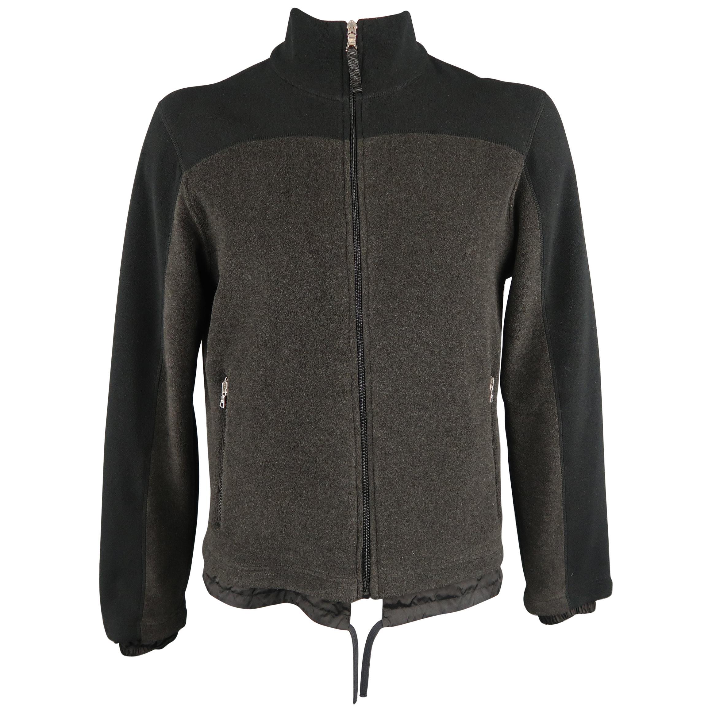 PRADA XL Black & Charcoal Two Toned Fleece Jacket