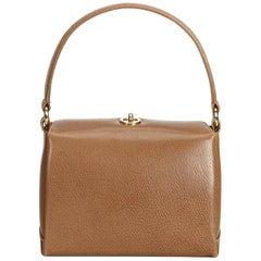 Gucci Brown x Light Brown Old Gucci Leather Handbag