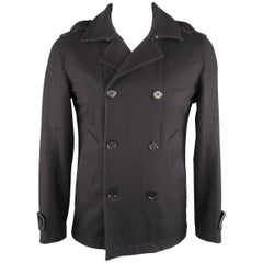 LOVE MOSCHINO 38 Navy Solid Wool Peacoat