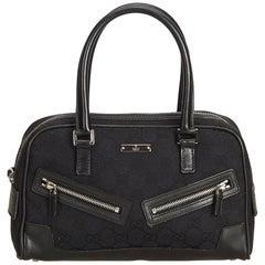 Gucci Black Guccissima Canvas Boston Bag