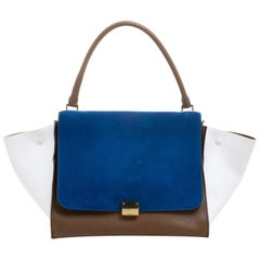 Celine Tri Color Leather and Suede Large Trapeze Tote