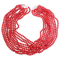 10 Strand Genuine Red Coral 7mm Bead Necklace with Sterling Silver Sliding Clasp