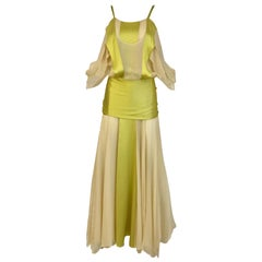 Yves Saint Laurent by Tom Ford Chartruese and Cream Silk Gown