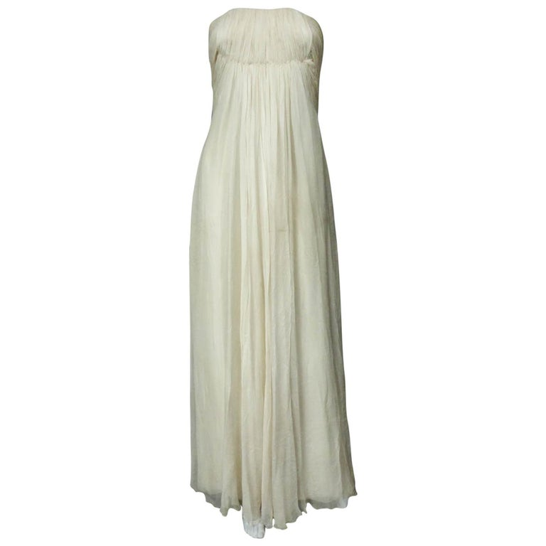 Anonymous French Couture Evening Dress Circa 1970 For Sale