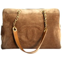 1990s Chanel Beige Chamois Vintage Shoulder Bag