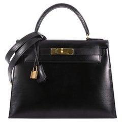 Hermes Kelly Handbag Black Box Calf with Gold Hardware 28