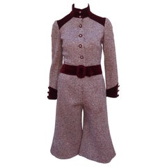 Mod C.1970 Young Victorian Ruby Red Velvet & Wool Tweed Jacket Pant Suit