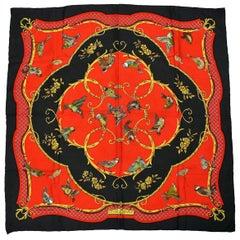Hermes Vintage Jacquard Silk Carre Scarf La Cle des Champs by Francoise Faconnet