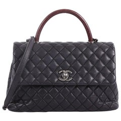 Chanel Coco Top Handle Bag Quilted Caviar with Lizard Medium