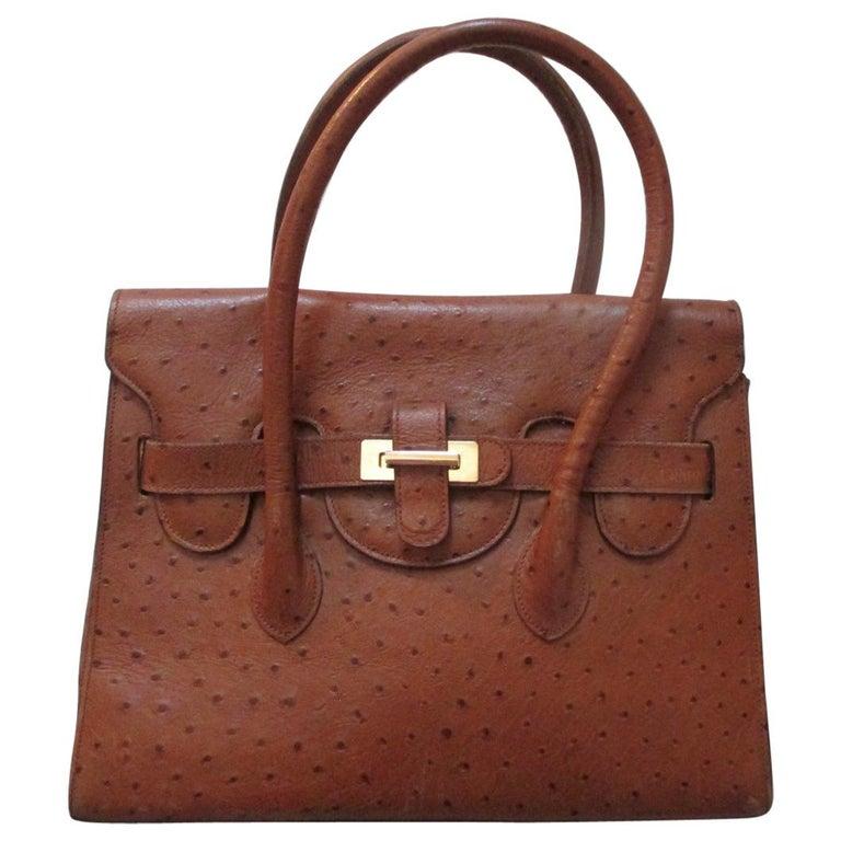 Vintage Brown Ostrich Leather Bag  For Sale