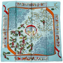 Hermes Vintage Silk Carre Scarf Neige d'Antan by Caty Latham