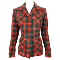 Chic 1970s Red and Green Plaid Safari Style Vintage 70s Wool Christmas Jacket