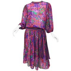 Vintage Diane Freis Pink Purple Green Flowers and Stripes Top and Skirt Dress