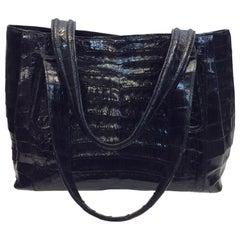 Nancy Gonzales Black Crocodile Handbag