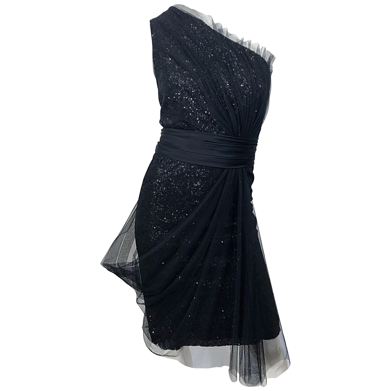 Vintage Liancarlo Couture Size 12 90s Black Silk One Shoulder 1990s Sequin Dress