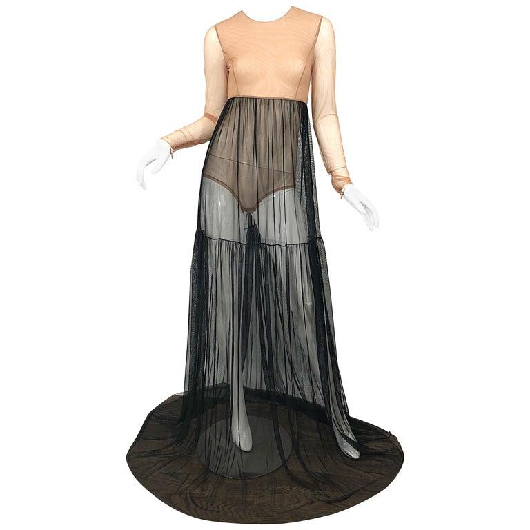 Michael Kors Collection Sz 4 Nude + Black Sheer Runway Mesh Bodysuit Gown Dress For Sale