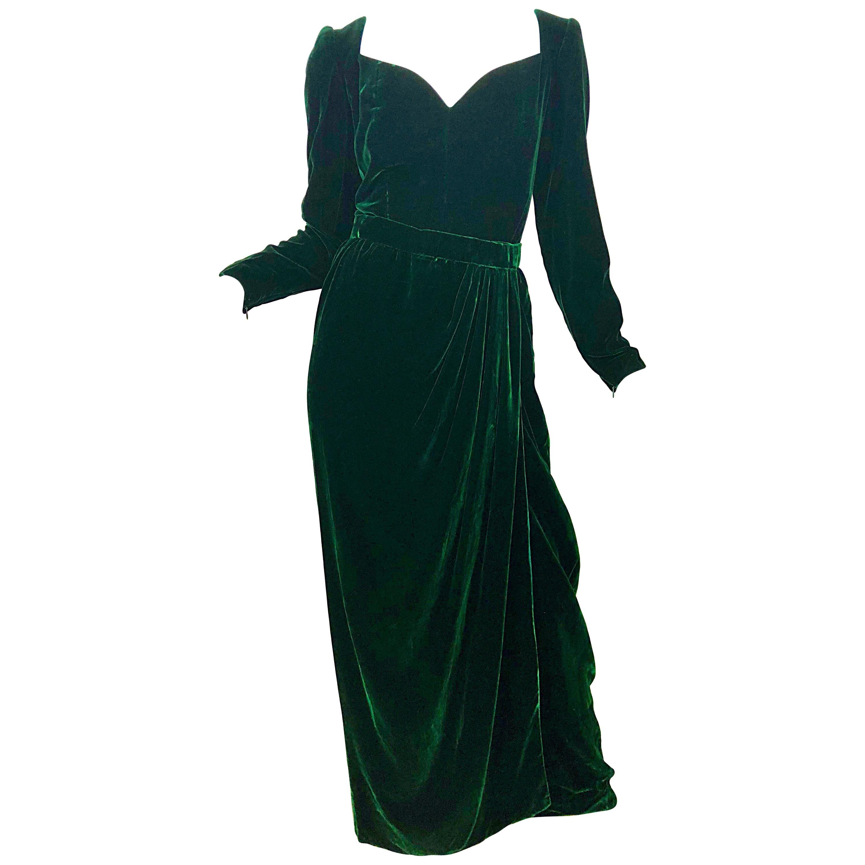 Beautiful Vintage Oscar de la Renta Size 8 Hunter Green Velvet Two Piece Gown