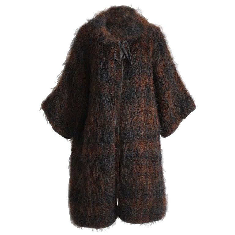 0936c26fe41ef Rare Bonnie Cashin Boucle Mohair Coat Leather Trim NOH Style Museum Piece  OS For Sale