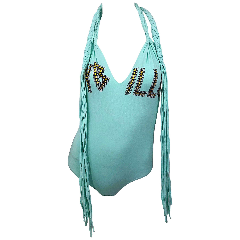 Rare Spring 2003 Dolce & Gabbana Teal Blue Sequined One Piece Fringe Bodysuit