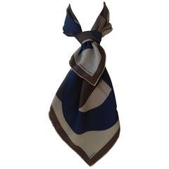 Hermès Silk Scarf Chaine D'ancre Pattern Green Khaki Blue 70 cm