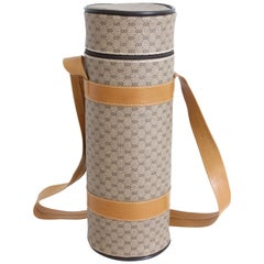 Gucci Bottle Holder Monogram Canvas & Leather Insulated Bag Home Decor Barware