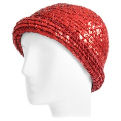 Rare Halston Red Sequins Hat Disco Skull Cap Festive Party Wear 1970s Sz S