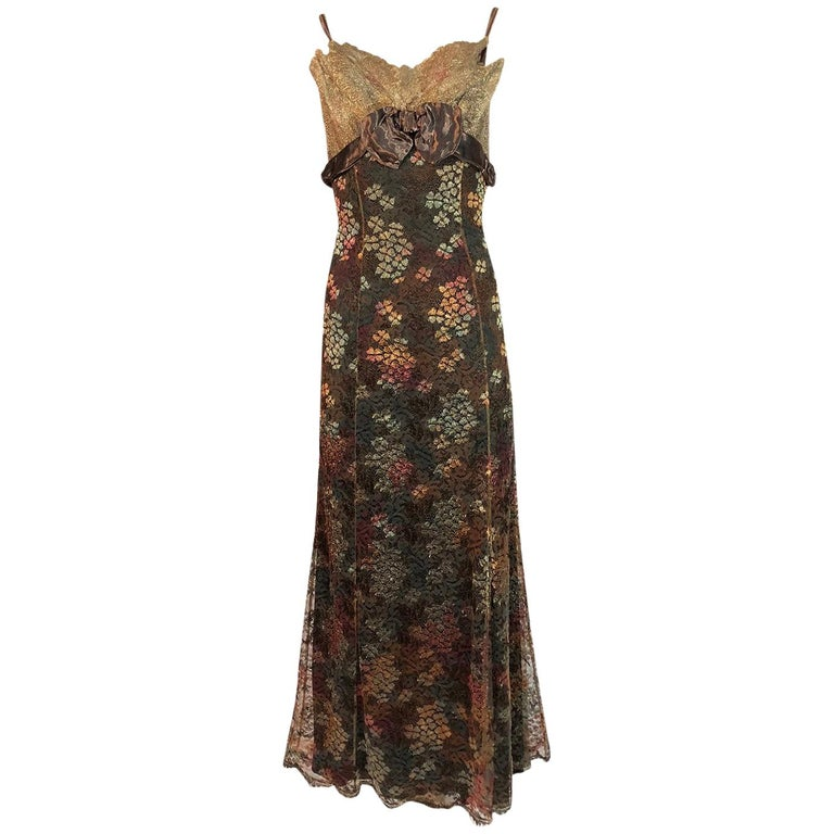 F/W 1995 Christian Lacroix Stunning Metallic Gold & Copper Lace Dress For Sale