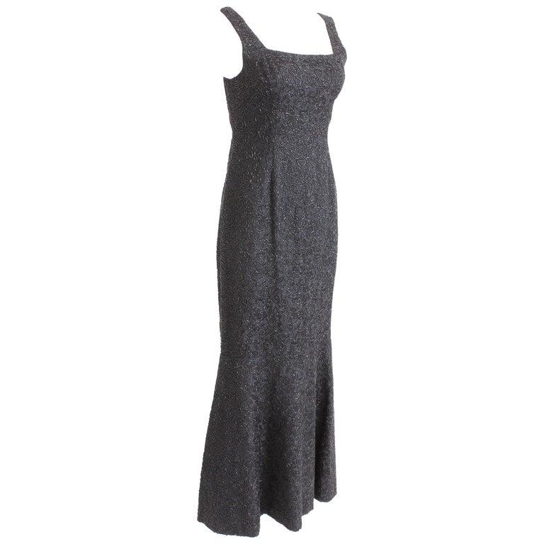 912b828236bf 60s Evening Gown Mermaid Fishtail Hem Black Beaded Brocade Sz S Rare Formal  For Sale