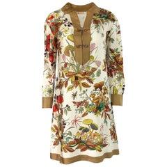 1970s Gucci Ad Campaign Flora Fauna Screen Printed Silk Shift Dress