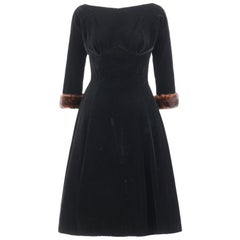 Young Modes CLAUDIA YOUNG c.1950's Black Velvet Mink Fur Cuff Cocktail Dress