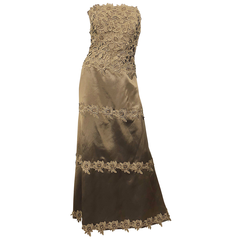 90s Helen Morley for Saks Size 12 / 14 Taupe Silk Crochet Beaded Strapless Gown