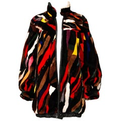 Zuki-Attributed Vintage Dyed Multicolor Sheared Beaver Fur Coat or Jacket