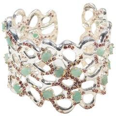 Sterling Silver Emerald, Rhodolite Garnet and Sapphire Cuff Bracelet