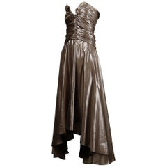 Yves Saint Laurent Strapless Metallic Gunmetal Silk Lamé Evening Dress/ Gown