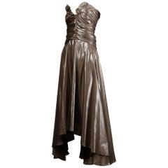 Yves Saint Laurent Strapless Metallic Gunmetal Silk Lamé Evening Dress/ Gown