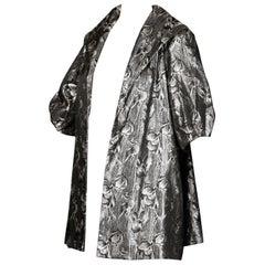 1960s Lilli Diamond Vintage Metallic Silver 3/4 Sleeve Evening Swing Coat Jacket