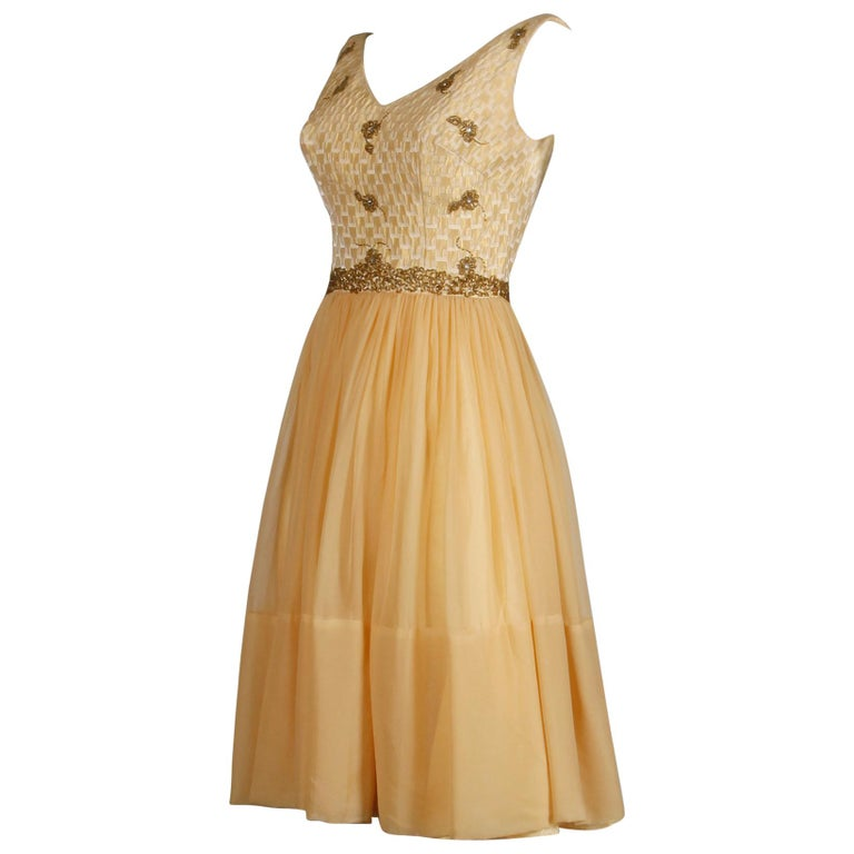 1960s Mam'selle Vintage Gold Beaded Brocade + Silk Chiffon Cocktail Dress For Sale
