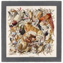 "HERMES Henri de Linares c.1966 ""Gibiers"" Rabbit & Bird Hunting Motif Silk Scarf"