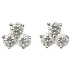 Tiffany & Co. Platinum Aria Diamond Triad Stud Earrings